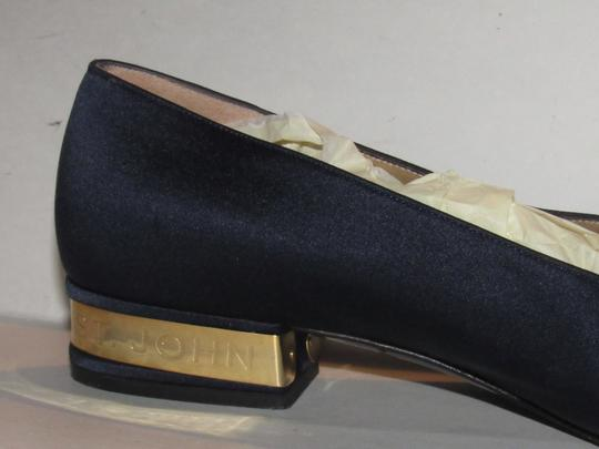 St. John Almond Toes Nautical Theme Mint Condition Gold Metal Heels navy blue satin and leather Flats Image 8