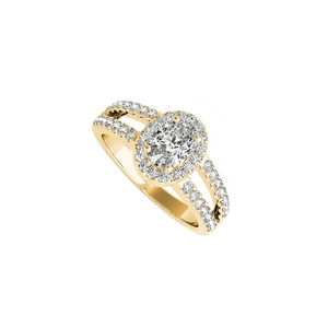 DesignByVeronica Cubic Zirconia Oval Halo Engagement Ring Yellow Gold