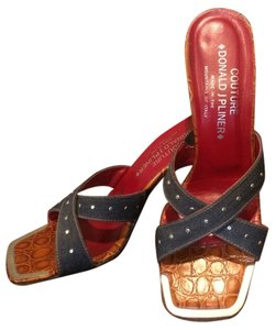 Donald J. Pliner Red, Brown, Denim Sandals