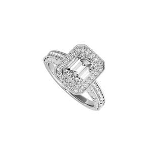 DesignByVeronica Emerald Cut CZ Halo Engagement Ring in 14K White Gold
