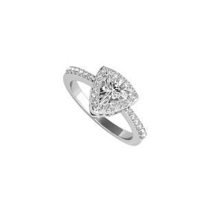 DesignByVeronica Trillion Cut CZ Halo Engagement Ring in 14K White Gold