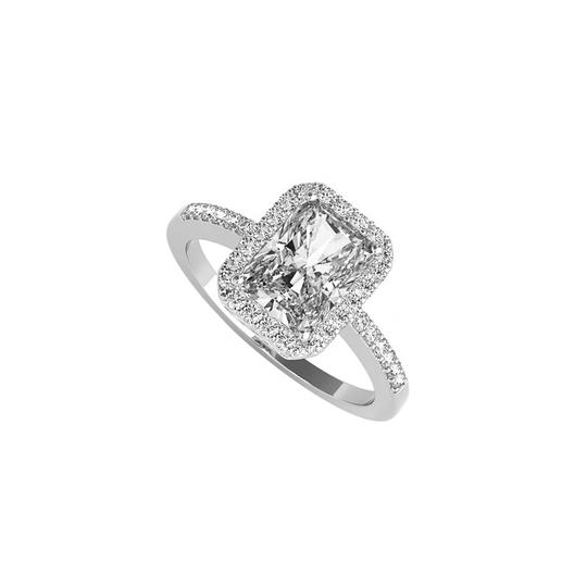 Preload https://img-static.tradesy.com/item/24103079/white-emerald-cut-cz-halo-engagement-in-14k-gold-ring-0-0-540-540.jpg