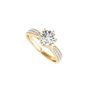 DesignByVeronica Cubic Zirconia Accented Engagement Ring in Yellow Gold