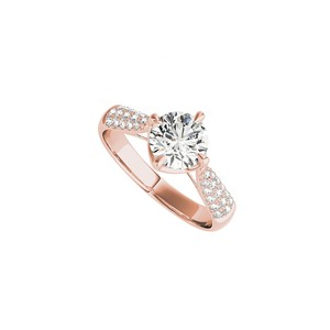 DesignByVeronica Glittering Round CZ Engagement Ring in 14K Rose Gold