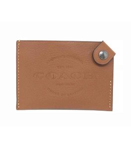 Coach Coach Men's Credit Card Case Natural Smooth Leather Saddle Wallet