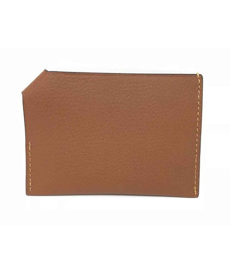 Coach Coach Men's Credit Card Case Natural Smooth Leather Saddle Wallet Image 1