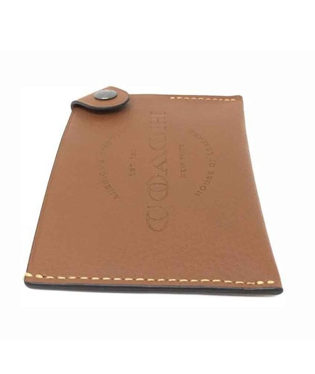 Coach Coach Men's Credit Card Case Natural Smooth Leather Saddle Wallet Image 2