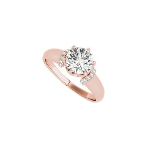 DesignByVeronica Unique Cubic Zirconia Engagement Ring in 14K Rose Gold