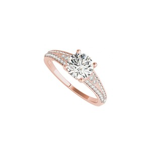 DesignByVeronica Round Cubic Zirconia Engagement Ring in 14K Rose Gold