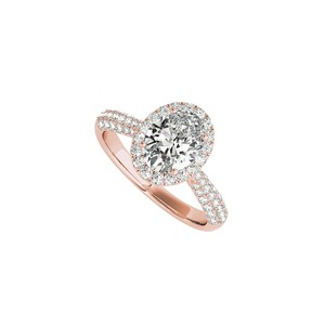 DesignByVeronica Oval CZ Multi Row Engagement Rings in 14K Rose Gold