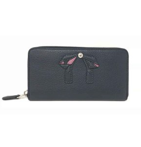 Coach Coach Accordion Zip Women's Wallet With Bow Navy Silver Wallet