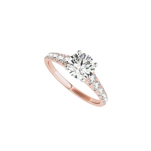 DesignByVeronica Round CZ Accented Engagement Ring in 14K Rose Gold
