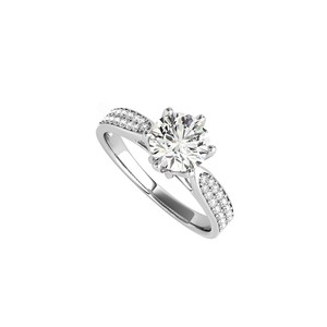 DesignByVeronica Cubic Zirconia Accented Engagement Ring in White Gold