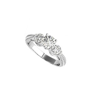 DesignByVeronica CZ Accented Three Stone Engagement Ring in White Gold