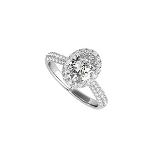 DesignByVeronica Oval CZ Multi Row Engagement Rings in 14K White Gold