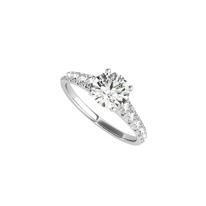 DesignByVeronica Round CZ Accented Engagement Ring in 14K White Gold