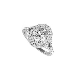 DesignByVeronica Oval CZ Double Halo Engagement Ring in 14K White Gold