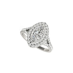 DesignByVeronica Double Halo Marquise CZ Engagement Ring White Gold