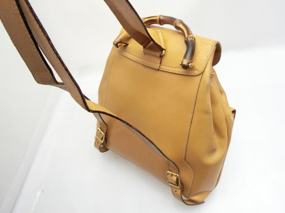284260fff55392 Gucci Mustard Tan Bamboo Double Pocket 231457 Brown Leather Backpack ...