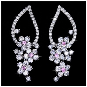 Boutique Collection Swarovski Crystals The Quim Silver & Pink Earrings S1