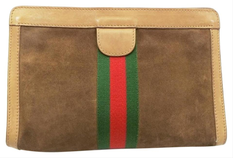 4af6bd50057e Gucci Sherry Web Cosmetic Pouch 230594 Brown Suede Leather Clutch ...