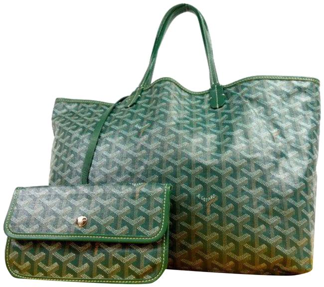 Item - Chevron ine St Louis with Pouch 231311 Green Coated Canvas Tote
