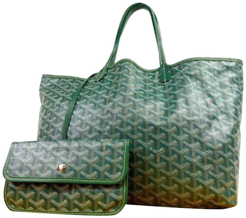2b5801dffeee Goyard Chevron Goyardine St Louis with Pouch 231311 Green Coated Canvas  Tote 25% off retail