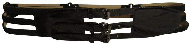 Item - Black Patent Leather and Suede Wide Buckle Belt