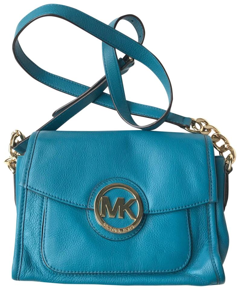 1ac21b35725d Michael Kors Turquoise Fulton Leather Cross Body Bag - Tradesy