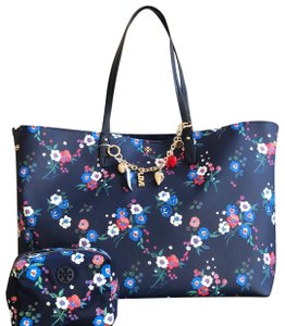 Tory Burch 3pcs Floral Fall Winter Tote in Pansy Bouquet