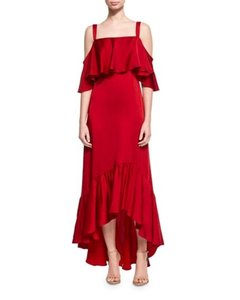 JILL JILL STUART Ruffle High-low Silk Sleeveless Dress