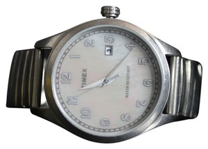 Timex T2N408 Unisex Steel Expander With Analog Pearl Dial Watch NWT