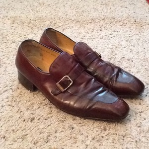 Gucci Italy Mens Vintage Leather Signature Buckle Loafers Shoes