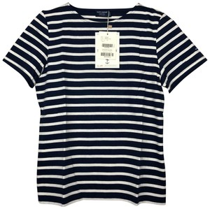 Saint James Nautical Cotton Striped Soft T Shirt Navy Ecru