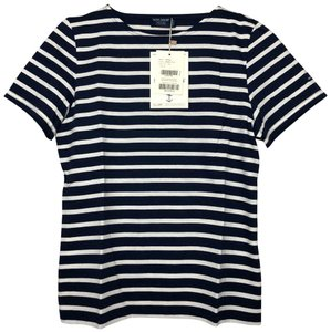 Saint James T Shirt Navy Ecru