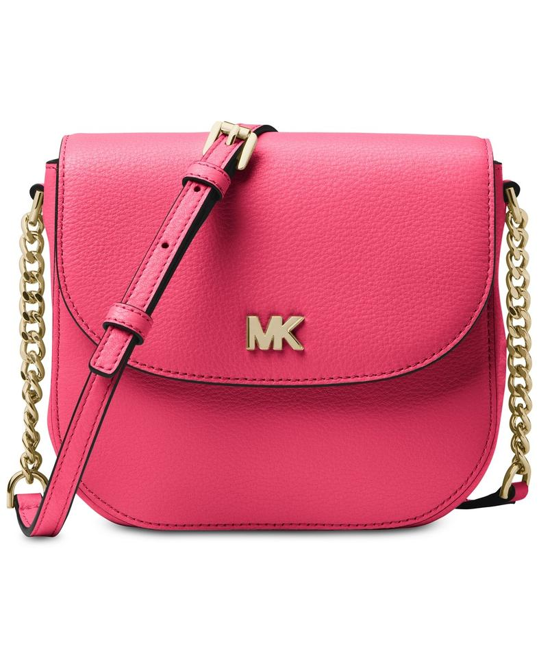 b71e5119a69c Michael Kors Half Dome Rose Pink Gold Leather Cross Body Bag - Tradesy