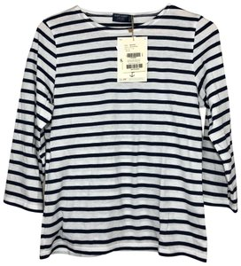 Saint James Striped 3/4 Sleeves Soft Cotton Nautical T Shirt Navy White