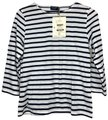 Saint James Nautical Striped Soft Cotton 3/4 Sleeves T Shirt Navy White Image 0