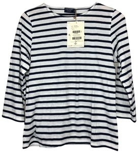Saint James Nautical Striped Soft Cotton 3/4 Sleeves T Shirt Navy White