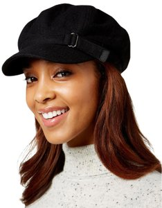 71c70d4d4ea28 Nine West Black Felt Buckled Newsboy Cap Hat
