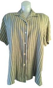 Alfred Dunner White Stripped Button Down Shirt Green