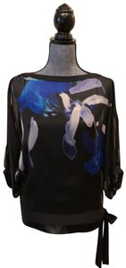Elie Tahari Silk Size Xs Top Black, Blue, White