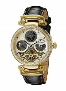 Stührling Stuhrling Magistrate Automatic Skeleton Dual Time Gold Tone Watch