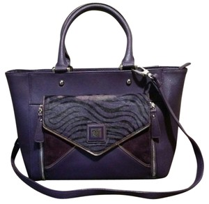 Sharif Leather Calf Hair Suede Tote in Purple