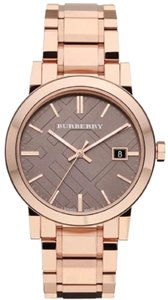Burberry Burberry Brown Check Pattern Dial Rose Gold-plated Unisex Watch