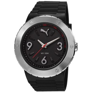 Puma PU103331001 Men's Black Silicone Band With Black Analog Dial Watch