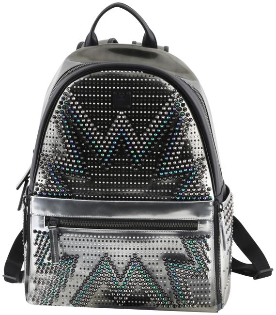MCM Cyber Glow Studded Convertible Silver Leather Backpack MCM Cyber Glow Studded Convertible Silver Leather Backpack Image 1