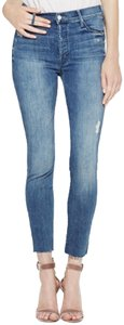 Mother Button Fly Distressed Skinny Jeans-Medium Wash