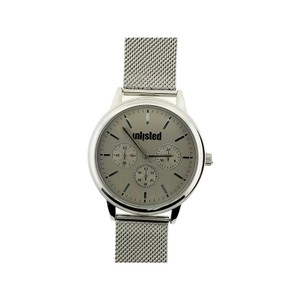 Unlisted by Kenneth Cole 10031970 Men's Silver Steel Bracelet With Grey Analog Dial Watch