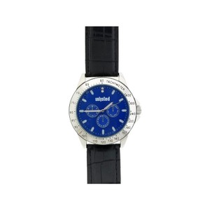 Unlisted by Kenneth Cole 10031966 Men's Black Leather Band With Blue Analog Dial Watch